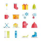 Reeks vector vlakke de winterpictogrammen Royalty-vrije Stock Foto