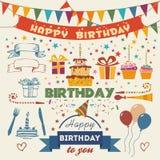 Reeks vector vlakke het ontwerpelementen van de verjaardagspartij Stock Foto