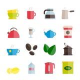 Reeks vector vlakke thee en koffiepictogrammen Stock Foto's