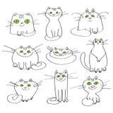 Reeks vector witte katten Stock Fotografie