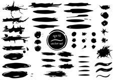 Reeks vector zwarte borstels Waterverf imitatieborstels Hand getrokken borstels, slagen, inkt, plonsen Royalty-vrije Stock Afbeelding