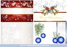 Reeks vectorachtergronden van Kerstmis Stock Afbeeldingen