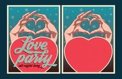 Reeks vectoraffiches van de Liefdepartij Stock Fotografie