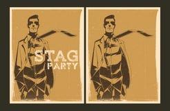 Reeks vectoraffiches van de Mannetjespartij Stock Foto