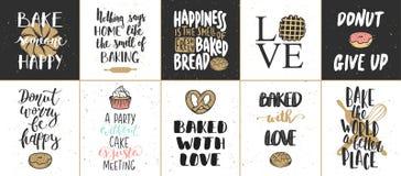 Reeks vectorbakkerij van letters voorziende affiches, groetkaarten Royalty-vrije Stock Foto's