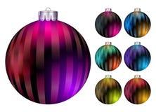 Reeks vectorballen van Kerstmis Realistische Kleurrijke Kerstmisbal stock illustratie
