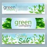 Reeks vectorbanners met verse groene bladeren voor Stock Afbeelding