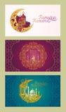Reeks vectorbanners voor Ramadan Kareem met Ramadanlantaarn, torens van moskee, uitstekende maan en Arabisch patroon vector illustratie