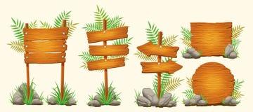 Reeks vectorbeeldverhaal houten tekens van diverse vormen stock illustratie