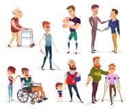 Reeks vectorbeeldverhaalillustraties van gehandicapte mensen geïsoleerd op wit vector illustratie