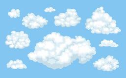 Reeks vectorbeeldverhaalwolken op blauwe achtergrond royalty-vrije illustratie