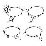 Reeks vectorbellen van de praatjeinkt grunge Stock Fotografie