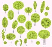 Reeks vectorbomensymbolen, schets van boompatroon voor buitenkant Royalty-vrije Stock Fotografie