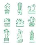 Reeks vectorcactuspictogrammen stock illustratie