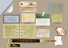 Reeks vectordocument voorwerpen voor het scrapbooking Stock Fotografie