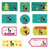 Reeks vectorelementen voor Kerstmis en Nieuwjaarontwerp Royalty-vrije Stock Foto