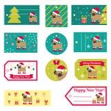 Reeks vectorelementen voor Kerstmis en Nieuwjaarontwerp Stock Foto's