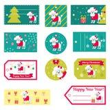 Reeks vectorelementen voor Kerstmis en Nieuwjaarontwerp Royalty-vrije Stock Afbeeldingen