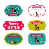 Reeks vectorelementen voor Kerstmis en Nieuwjaarontwerp Stock Foto