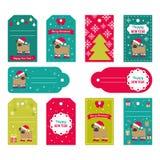 Reeks vectorelementen voor Kerstmis en Nieuwjaarontwerp Stock Afbeelding
