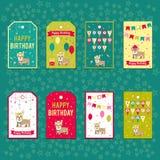 Reeks vectorelementen voor verjaardagsontwerp Etiketten, stickers, markeringen voor giften, uitnodigingen en gelukwensen Kinderen Stock Afbeeldingen