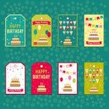 Reeks vectorelementen voor verjaardagsontwerp Etiketten, stickers, markeringen voor giften, uitnodigingen en gelukwensen Kinderen Stock Afbeelding