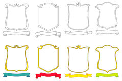Reeks vectoremblemen, kammen, schilden en rollen Royalty-vrije Stock Fotografie