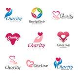 Reeks vectoremblemen voor liefdadigheid en zorg Embleem voor het weeshuis, bejaarde zorg stock illustratie