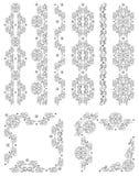 Reeks vectorgrenzen, decoratieve bloemenelementen   Stock Afbeeldingen