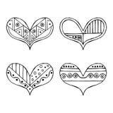 Reeks vectorhand getrokken decoratieve gestileerde zwart-witte kinderachtige harten Krabbelstijl, grafische illustratie Sier leuk Stock Fotografie