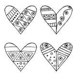 Reeks vectorhand getrokken decoratieve gestileerde zwart-witte kinderachtige harten Krabbelstijl, grafische illustratie Sier leuk Royalty-vrije Stock Foto's