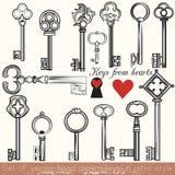 Reeks vectorhand getrokken die sleutels in uitstekende stijl worden geplaatst stock illustratie
