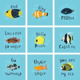 Reeks vectorillustraties - een leuke tropische vis in water met bellen Het originele van letters voorzien vector illustratie