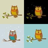 Reeks vectorillustraties met modieuze uilen Royalty-vrije Stock Fotografie