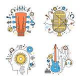 Reeks vectorillustraties van de muziek vlakke lijn Royalty-vrije Stock Foto's