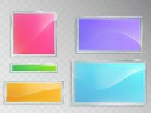 Reeks vectorillustraties van glasbanners op grijze achtergrond Stock Foto