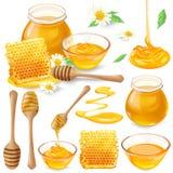 Reeks vectorillustraties van honing in honingraten, in een kruik, die van honingsdipper druipen vector illustratie
