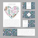 Reeks vectorkaarten met schoonheidsmiddelenornament Royalty-vrije Stock Foto's