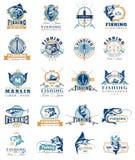 Reeks vectorkentekens, stickers bij het vangen van vissen royalty-vrije illustratie