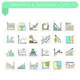 Reeks vectorkleurenpictogrammen van grafiek en diagrammen Stock Afbeelding