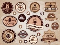 Vector koffieetiketten Stock Foto