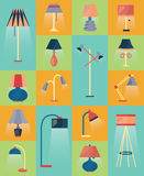 Reeks vectorlamppictogrammen Royalty-vrije Stock Afbeeldingen