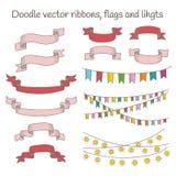 Reeks vectorlinten, vlaggen anf lichten Royalty-vrije Stock Afbeeldingen