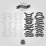 Reeks vectorlinten voor uitstekende emblemen Stock Afbeeldingen