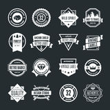 Reeks vectorlogotypeselementen, etiketten, kentekens en silhouetten Royalty-vrije Stock Foto