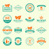 Reeks vectorlogotypeselementen, etiketten, kentekens en silhouetten vector illustratie