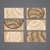 Reeks vectorontwerpmalplaatjes Adreskaartje met het ornament van de adstractcirkel Royalty-vrije Stock Foto's