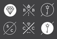 Reeks Vectoroverzichtskentekens of Emblemen Abstracte Hipster Logo Te Royalty-vrije Stock Afbeelding