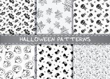 Reeks vectorpatronen van Halloween Eindeloze zwart-wit Halloween-texturen Royalty-vrije Stock Foto's