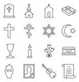 Reeks vectorpictogrammen van begrafenis en begraafplaats royalty-vrije illustratie